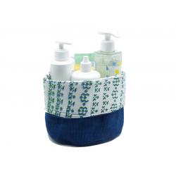 "Large Bathroom Basket in Organic Cotton and Dyes  ""Indigo"""