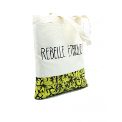 Rebelle Ethique Tote Bag in organic cotton and Batik - Yellow