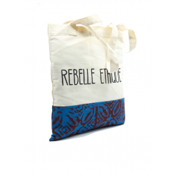 Rebelle Ethique Tote Bag in organic cotton and Batik  - Blue and Taupe