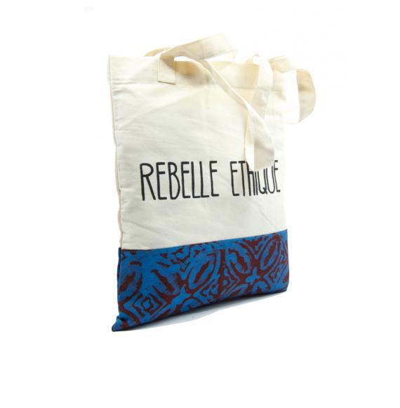 Cabas Batik avec Batik bleu et taupe Batik en coton bio et teintures non toxiques