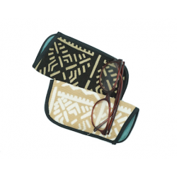 "Organic Cotton Bogolan Eyeglass Case  ""Saumon"""
