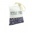 Rebelle Ethique Tote Bag in organic cotton and Batik - Blue and Chocolate