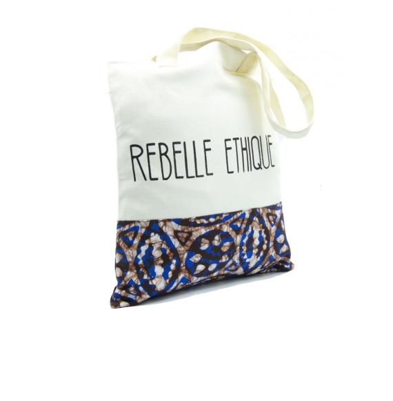 Cabas Batik en coton bio et teintures non toxiques - Bleu et Choco