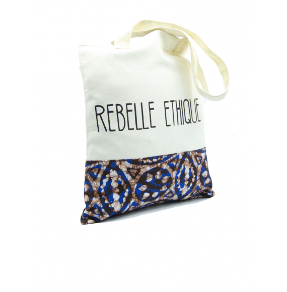 "Rebelle Ethique Tote Bag in organic Batik cotton ""Blue and Chocolate"""