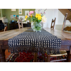 """Black & Beige Dots"" Bogolan Organic Cotton Table Runner"