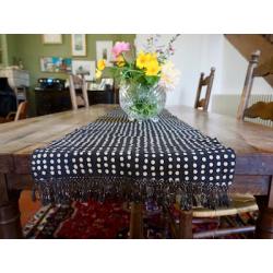 Bogolan Table Runner - Black with Beige Dots