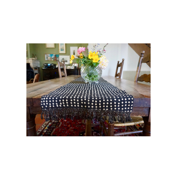 Bogolan Table Runner - Black with White Dots