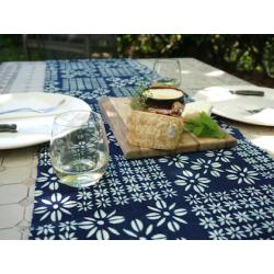 Indigo and White Floral Bogolan Table Runner