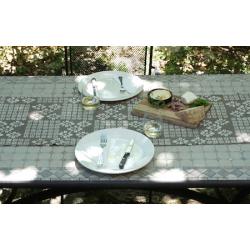 """Gray Floral"" Bogolan Organic Cotton Table Runner (102 in. long)"