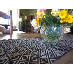 """Black Diamonds"" Bogolan Organic Cotton Table Runner"