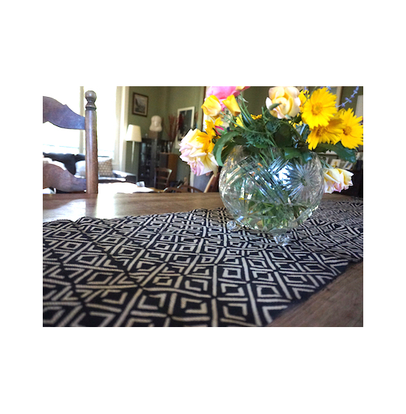 Bogolan Table Runner - Black Diamonds