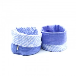 "Organic Cotton Reversible Organizer Basket  - ""Lavander"""
