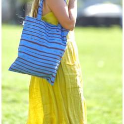 "Organic Koko Donda Cotton Tote Bag  ""Blue and Ocre"""