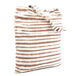 """Tote Bag """"Koko Donda brown and white"""" in organic dyes - Bronw and blue"""