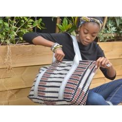 """Grand sac voyage coton bio """"Sahel Indigo"""""""