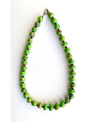 Handmade recycled plastic necklace from Burkina Faso