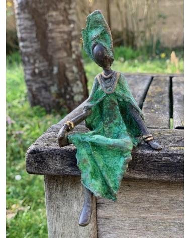 African bronze statue woman in green