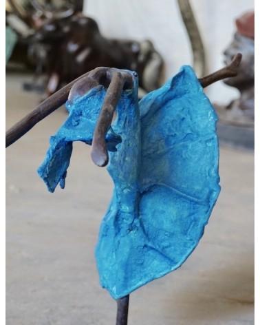 danseuse en robe bleu - bronze-afrique