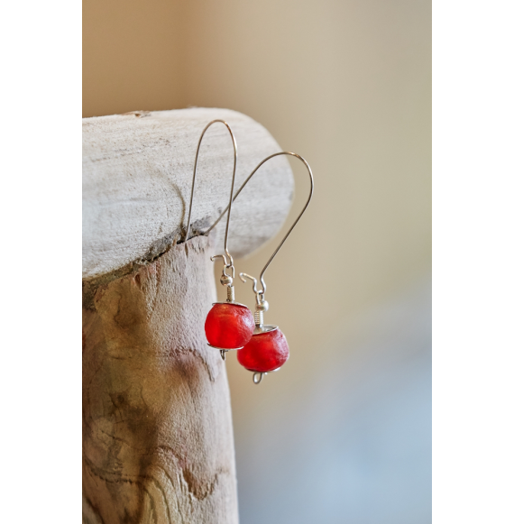Glass Earrings - Red