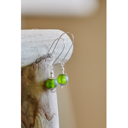Ghana Glass Earrings - Olive