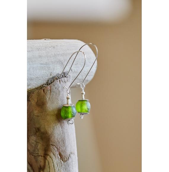 Glass Earrings - Green