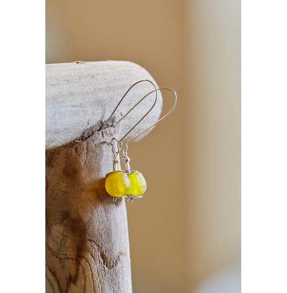 Boucles d'oreilles Verre - Bouton d'or